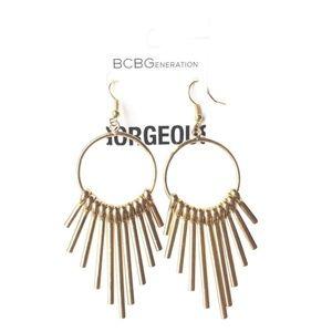 BCBGeneration Earrings Gold Tone Boho Style Fringe